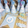 Kit completo Azul topos blancos
